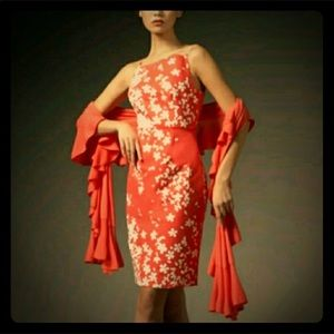 Magaschoni  Coral Floral Sheath Dress Size 16 NWT